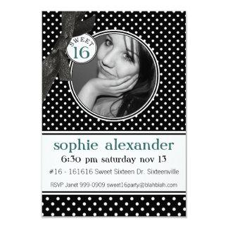 Cute Polkadot Pattern Sweet 16 Party 3.5x5 Paper Invitation Card