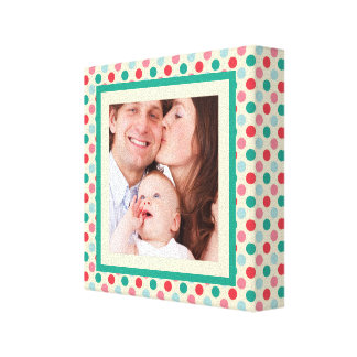 Cute Polkadots Bright Colors with Photo Stretched Canvas Print