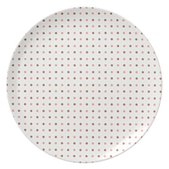 Cute Polkadots Brown and Pink Plate