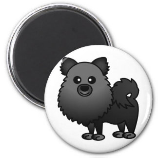 Cute Pomeranian Cartoon - Black Magnet