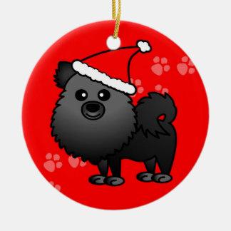 Cute Pomeranian Cartoon Santa Hat - Black Christmas Ornament