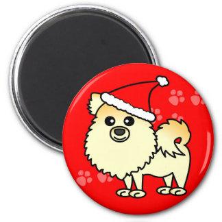 Cute Pomeranian Cartoon Santa Hat Magnet