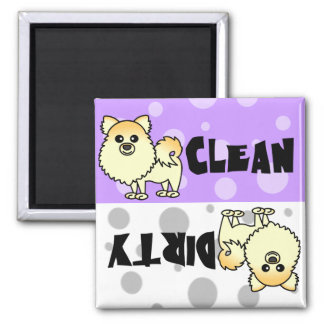 Cute Pomeranian Clean / Dirty Dishwasher Magnet