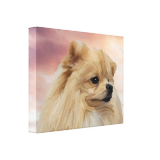 Cute Pomeranian Dog Watercolor Oil Painting Gallery Wrap Canvas