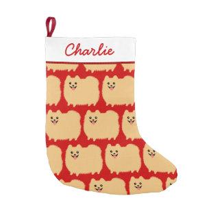 Cute Pomeranian Pattern with Custom Text Small Christmas Stocking
