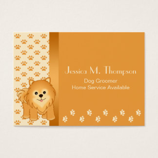 Cute Pomeranian Puppy Dog Pet Services Business Card
