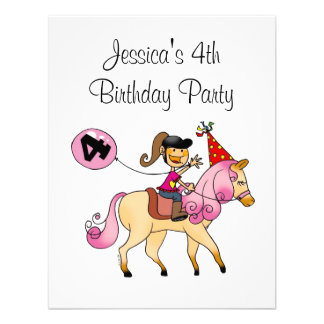 Cute pony and 4th birthday girl party announcement