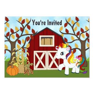 Cute Pony and Barn Autumn Horse Birthday Invite