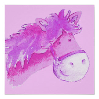 Cute pony art pink square poster print