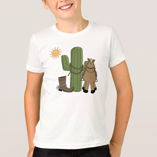 Cute Pony Desert Cactus Scene T-Shirt