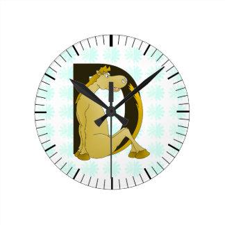 Cute Pony Monogram D Round Clocks