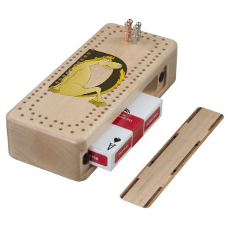 Cute Pony Monogram D Maple Cribbage Board