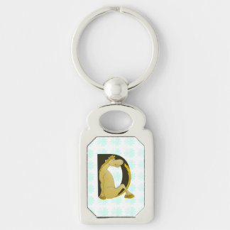 Cute Pony Monogram D Silver-Colored Rectangular Metal Keychain