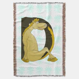 Cute Pony Monogram D Throw Blanket