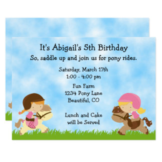 Cute Pony Party Girls Horse Birthday Invitation
