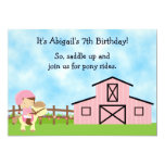 Cute Pony Rides and Pink Barn Horse Birthday Party 13 Cm X 18 Cm Invitation Card