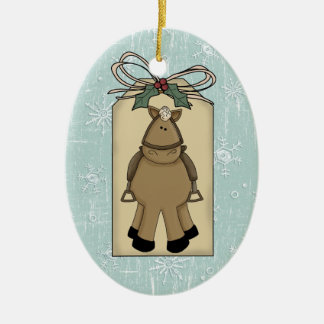 Cute Pony Winter Snow Keepsake Gift Tag Christmas Ornament