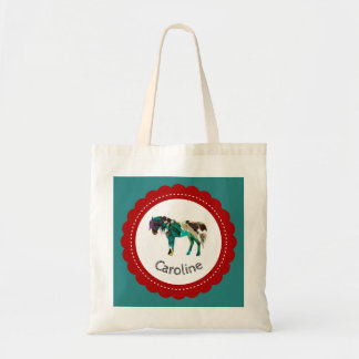 Cute Pony with Blue and Red Tote Bag