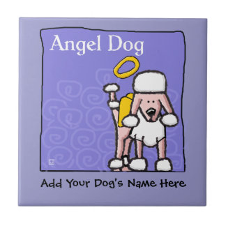 Cute Poodle Angel Dog Memorial Tile
