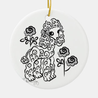 Cute Poodle White Christmas Ornament