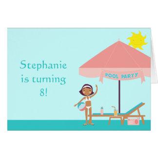 Cute pool party girl s birthday card invitation
