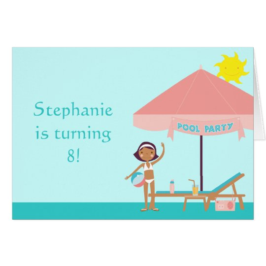Cute pool party girl's birthday card invitation
