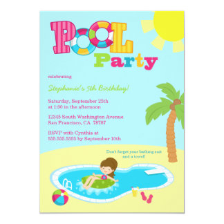 Cute pool party girls birthday party invitation