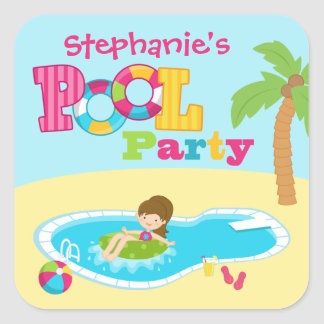 Cute pool party girls birthday party stickers