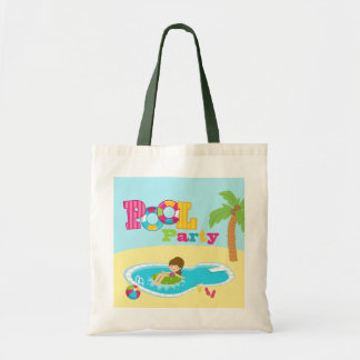 Cute pool party girls birthday party tote bag