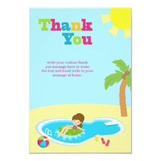 Cute pool party girls birthday thank you flat card