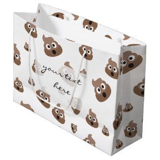 Cute Poop Emoji Pattern Large Gift Bag