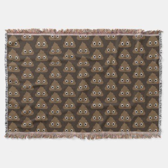 Cute Poop Pattern - Adorable Piles of Doo Doo Throw Blanket
