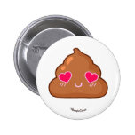 Cute Poop with Hearts Eyes Button
