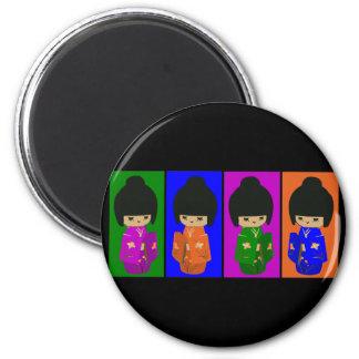 Cute Pop Art Kokeshi Dolls 6 Cm Round Magnet
