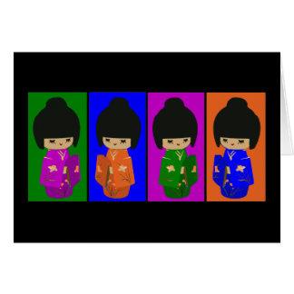 Cute Pop Art Kokeshi Dolls Cards