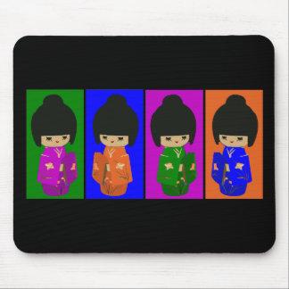 Cute Pop Art Kokeshi Dolls Mouse Pad