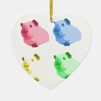 Cute Popart Cutout Green Pink Yellow Guinea pigs Christmas Ornament