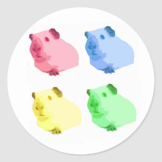 Cute Popart Cutout Green Pink Yellow Guinea pigs Classic Round Sticker