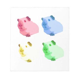 Cute Popart Cutout Green Pink Yellow Guinea pigs Notepads