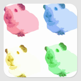 Cute Popart Cutout Green Pink Yellow Guinea pigs Square Sticker