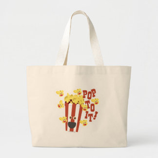 Cute Popcorn Slogan Large Tote Bag