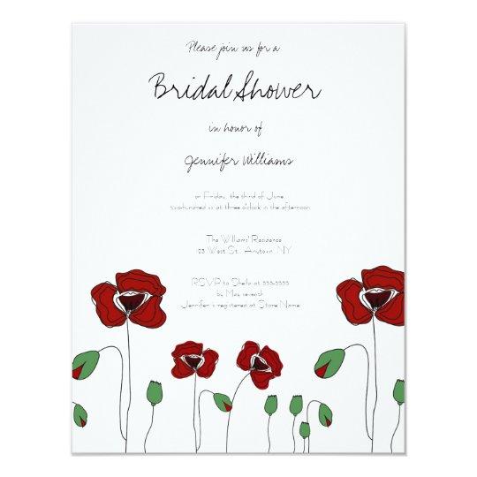 Cute poppy bridal shower invitations