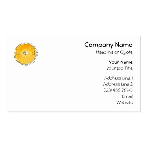 Cute Porcupine Fish. Business Card