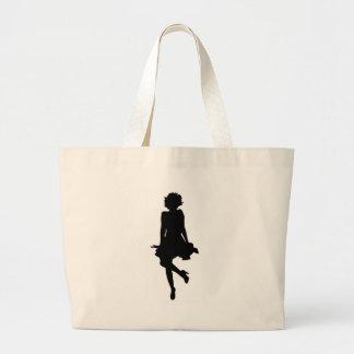 Cute Pose Silhouette Tote Bags