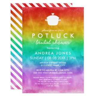 Cute Potluck Lesbian Bridal Shower | Rainbow Ombre Card