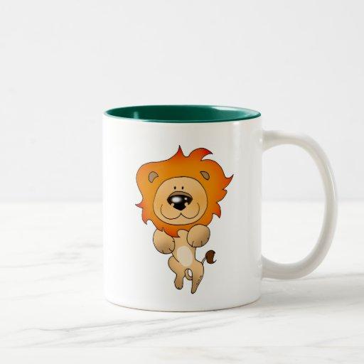 Cute pouncing lion mugs