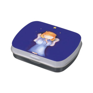 Cute praying girl angel candy gift tin jelly belly tin