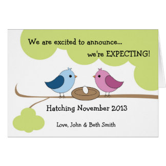 Cute Pregnancy Announcement - Birds In Nest Greeting Card