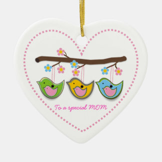 Cute pregnant birdies flowers Mother's Day Ceramic Heart Decoration