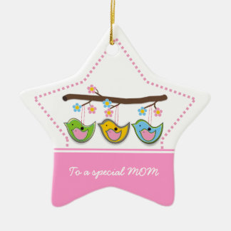 Cute pregnant birdies flowers Mother's Day Ceramic Star Decoration
